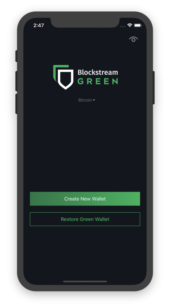 blockstream green main screen